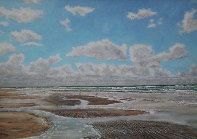 Texel, strand, 60x40cm, Acryl op paneel