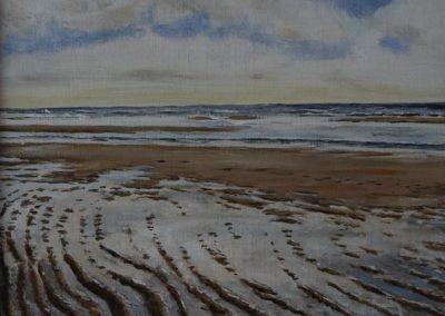 Texel, strand bij de Koog, 40x30cm, Acryl op doek