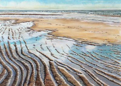 Texel, strand bij de Koog, 40x60cm, Acryl op paneel