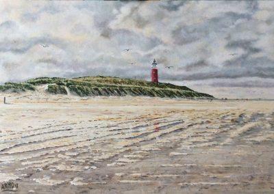 Texel, strand bij de vuurtoren. 60x40cm, Acryl op paneel