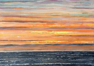 Texel, zonsondergang bij paal 15. 30x24cm, Acryl op canvasboard